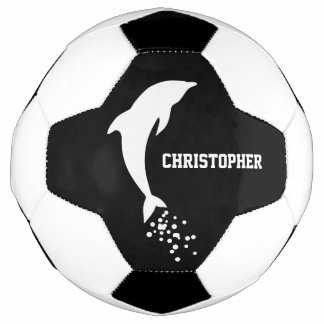 White Jumping Dolphin With Bubbles Soccer Ball