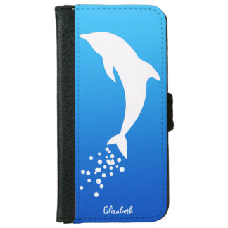 White Jumping Dolphin With Bubbles Wallet Case