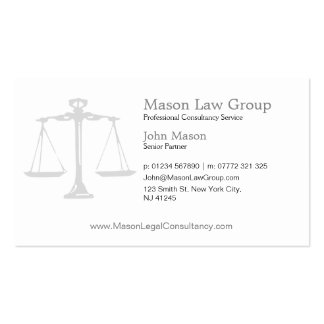 White Justice Scales :aw Attorney Business Card Pack Of Standard Business Cards