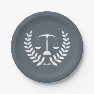 White Justice Scales + Custom Color Law Graduation Paper Plate