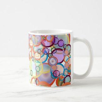 white kaffetasse with multicolored circle sample coffee mug