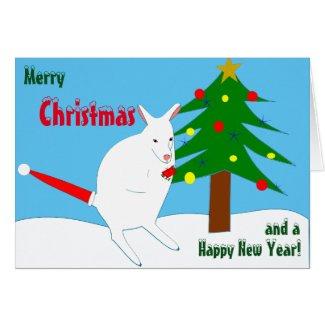 White kangaroo with A santa cap on its tail