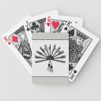 White Kanji Pixel Art Fan Bicycle Playing Cards
