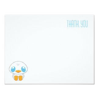 White Kawaii Duckling | Flat Thank You Note Card