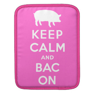 White keep calm and bacon sleeves for iPads