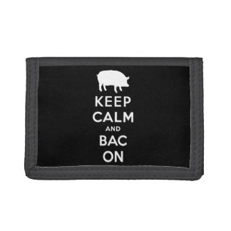 White keep calm and bacon tri-fold wallets