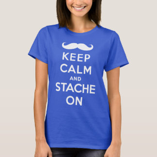White keep calm and stache on T-Shirt