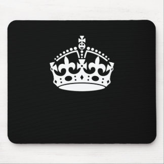 White Keep Calm Crown on Black Mouse Pad