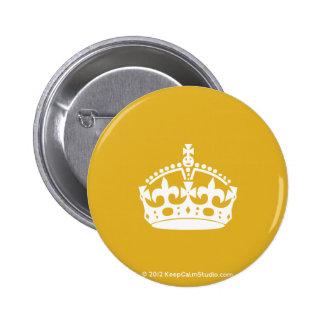 White Keep Calm Crown on Gold Background 2 Inch Round Button
