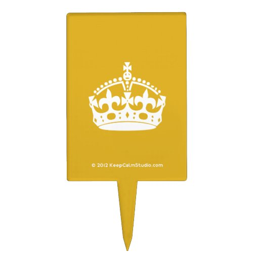 White Keep Calm Crown on Gold Background Cake Toppers