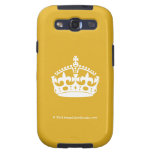 White Keep Calm Crown on Gold Background Galaxy SIII Case
