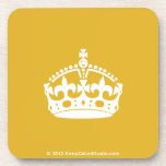 White Keep Calm Crown on Gold Background Coaster