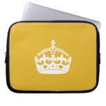 White Keep Calm Crown on Gold Background Computer Sleeve