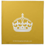 White Keep Calm Crown on Gold Background Cloth Napkins
