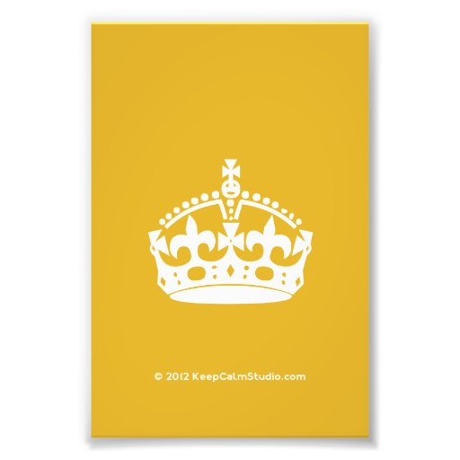 White Keep Calm Crown on Gold Background Photograph