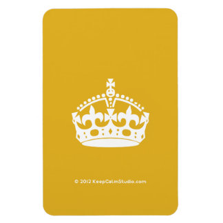 White Keep Calm Crown on Gold Background Rectangular Photo Magnet