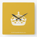 White Keep Calm Crown on Gold Background Wallclock