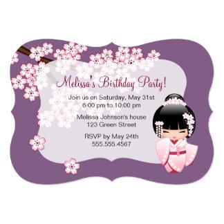 White Kimono Kokeshi Doll - Cute Birthday Party Card
