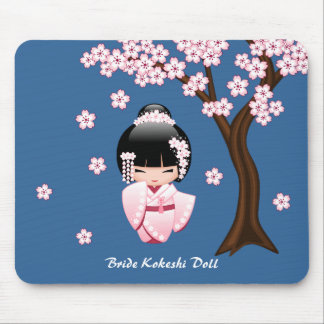White Kimono Kokeshi Doll - Cute Geisha Girl Mouse Pad
