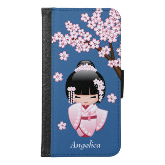 White Kimono Kokeshi Doll - Cute Geisha Girl Samsung Galaxy S6 Wallet Case