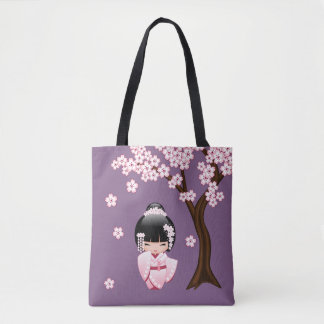 White Kimono Kokeshi Doll - Cute Geisha Girl Tote Bag
