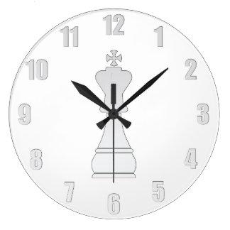 White king chess piece large clock