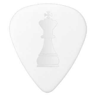 White king chess piece white delrin guitar pick