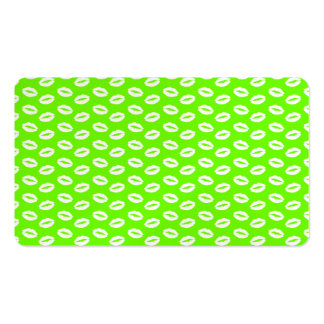 White Kisses Lips On Super Bright Neon Green Business Card