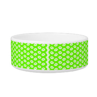 White Kisses Lips On Super Bright Neon Green Pet Food Bowls