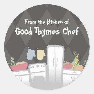 white kitchen appliances vegetables herbs packa... classic round sticker
