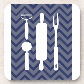 White Kitchen - utensils on chevron Coasters