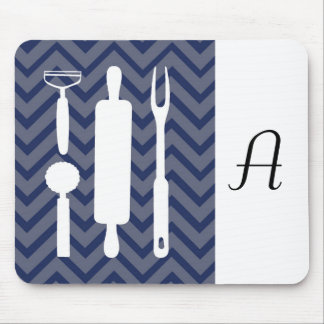 White Kitchen - utensils on chevron. Mouse Pad