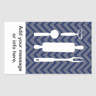 White Kitchen - utensils on chevron. Rectangular Sticker