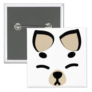White Kitsune Fox Pinback Buttons
