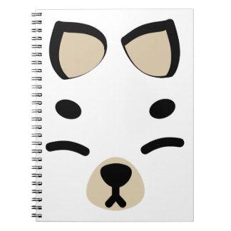 White Kitsune Fox Notebook