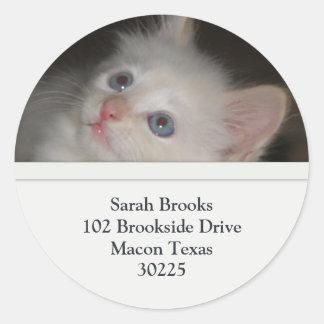 White Kitten Address Labels Classic Round Sticker