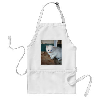 White Kitten Adult Apron