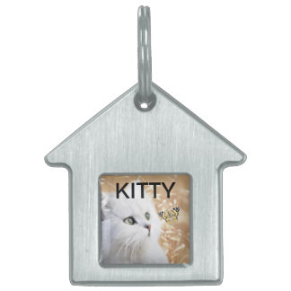 White kitten and butterfly pet ID tag