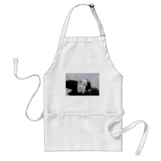 White kitten and the boot adult apron