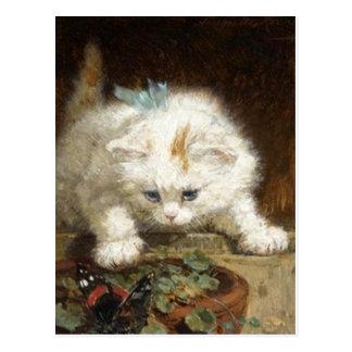 white Kitten by Ronner-Knip Postcard