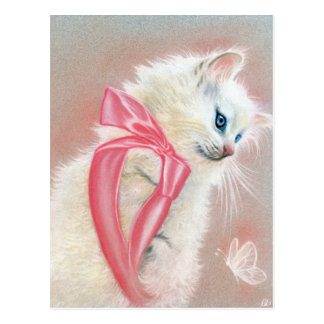White Kitten Cat Pink Bow Postcard