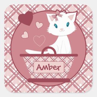 White Kitten in Pastel Pink Tartan basket Square Sticker