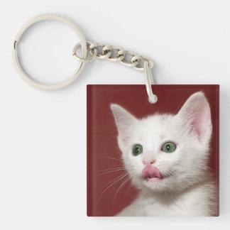 White Kitten Licking Keychain
