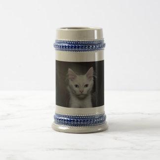 White Kitten 18 Oz Beer Stein