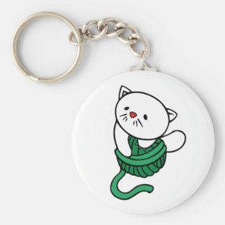 White Kitten with Ball of Yarn Basic Round Button Keychain