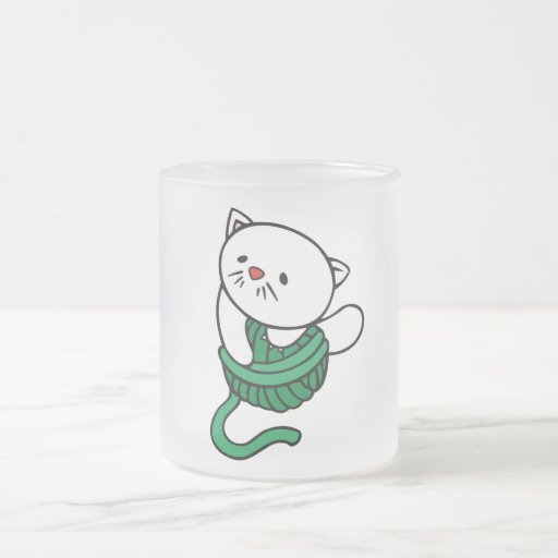 White Kitten With Yarn T-shirts and gifts 10 Oz Frosted Glass Coffee Mug