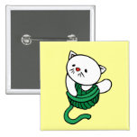 White Kitten With Yarn T-shirts and gifts Pinback Buttons