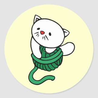 White Kitten With Yarn T-shirts and gifts Classic Round Sticker