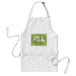 white kittens and yellow flowers adult apron