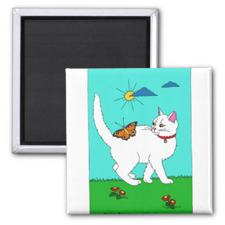 White Kitty and Butterfly 2 Inch Square Magnet